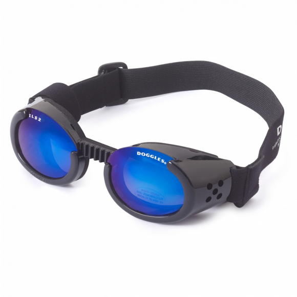 Interchangeable Lens Dog Sunglasses ~ Black Frame with Mirror Blue Lens - Le Pet Luxe
