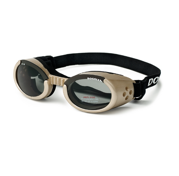 Interchangeable Lens Dog Sunglasses ~ Chrome Frame with Smoke Lens - le-pet-luxe