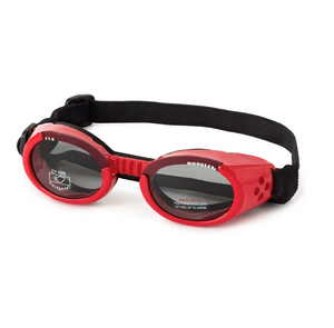 Interchangeable Lens Dog Sunglasses ~ Shiny Red Frame with Smoke Lens - Le Pet Luxe