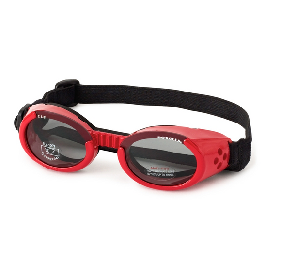 Interchangeable Lens Dog Sunglasses ~ Shiny Red Frame with Smoke Lens - le-pet-luxe
