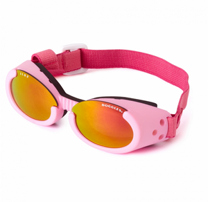 Interchangeable Lens Dog Sunglasses ~ Pink Frame with Sunset Mirror Lens - Le Pet Luxe