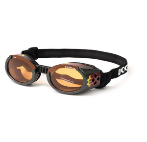 Interchangeable Lens Dog Sunglasses ~ Racing Flames Frame with Orange Lens - le-pet-luxe