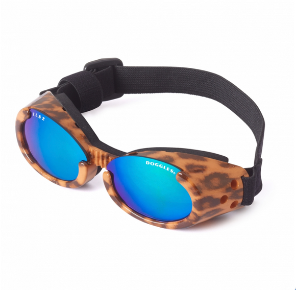 Interchangeable Lens Dog Sunglasses ~ Leopard Frame with Mirror Green Lens - le-pet-luxe