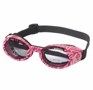 Interchangeable Lens Dog Sunglasses ~ Pink Zebra Frame with Smoke Lens - Le Pet Luxe