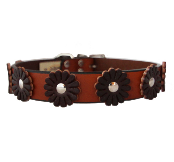 Flower Dog Collar ~ Tan and Burgundy - Le Pet Luxe