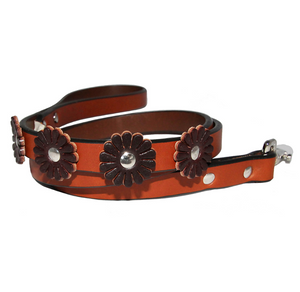 Flower Dog Leash ~ Tan and Burgundy - Le Pet Luxe