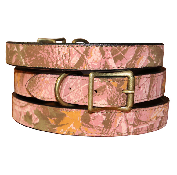 Camouflage Leather Dog Collar ~ Pink - Le Pet Luxe