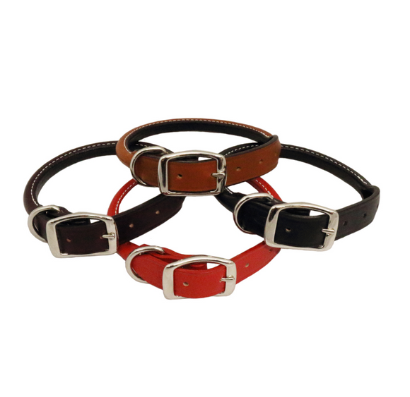 Rolled Leather Dog Collar - Le Pet Luxe