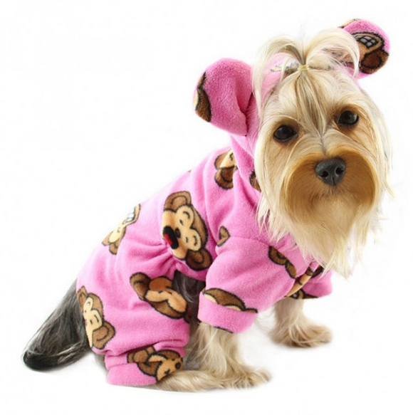 Silly Monkey Fleece Hooded Pajamas ~ Pink - Le Pet Luxe