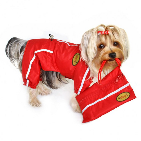 Raincoat Bodysuit with Reflective Stripes & Matching Pouch - Le Pet Luxe