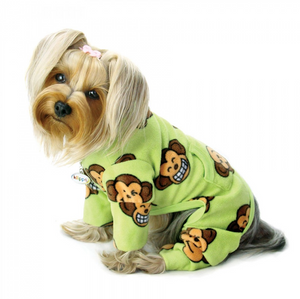 Silly Monkey Fleece Turtleneck Pajamas ~ Lime - Le Pet Luxe