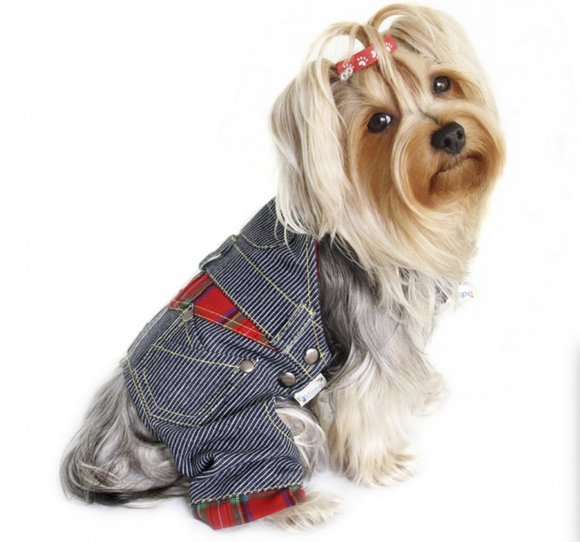 Adorable Stripy Denim Dog Overall - le-pet-luxe