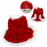 Elegant Christmas Dress with Furry Trims - Le Pet Luxe