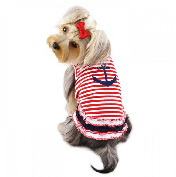 Cute Stripy Sailor Dog Shirt with Ruffles - Le Pet Luxe