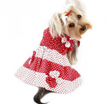 Red & White Polka Dots Dog Sundress with Contrasting Flowers - Le Pet Luxe