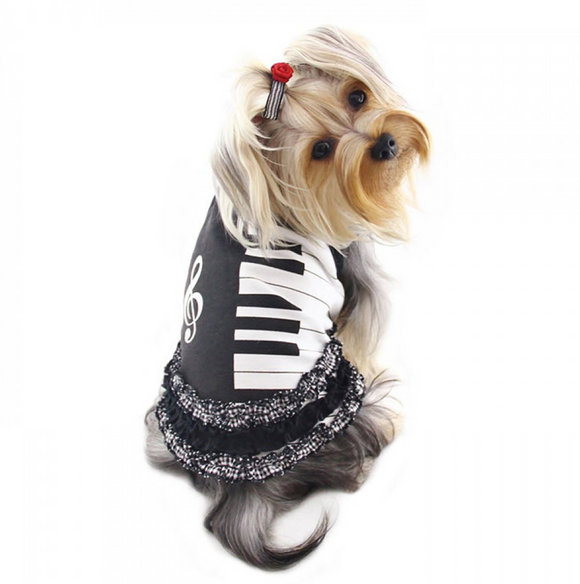 Adorable Piano Dog Dress with Ruffles - Le Pet Luxe