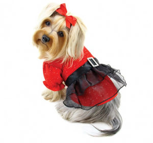 Sparkling Red Dog Dress with Puffy Sleeves - Le Pet Luxe