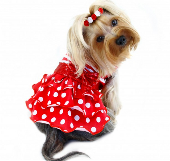 Sparkling Bow Ruffle Layered Dog Dress - le-pet-luxe