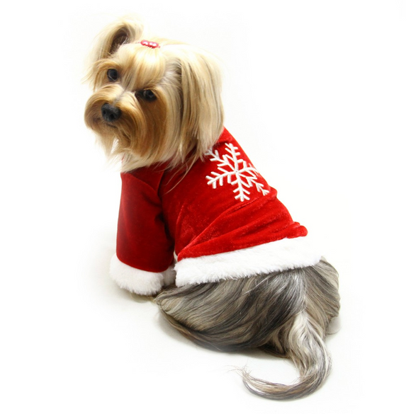 Velour Holiday Shirt With Sparkling Silver Snowflake - le-pet-luxe