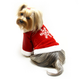 Velour Holiday Shirt With Sparkling Silver Snowflake - Le Pet Luxe