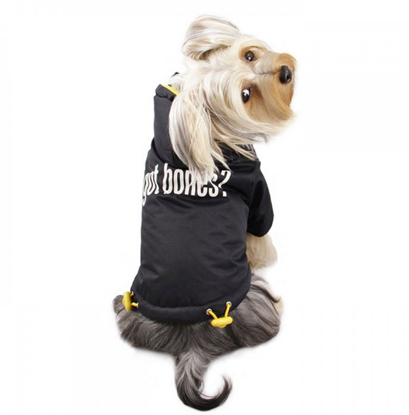 Got Bones? Dog Coat With Detachable Hood - Le Pet Luxe