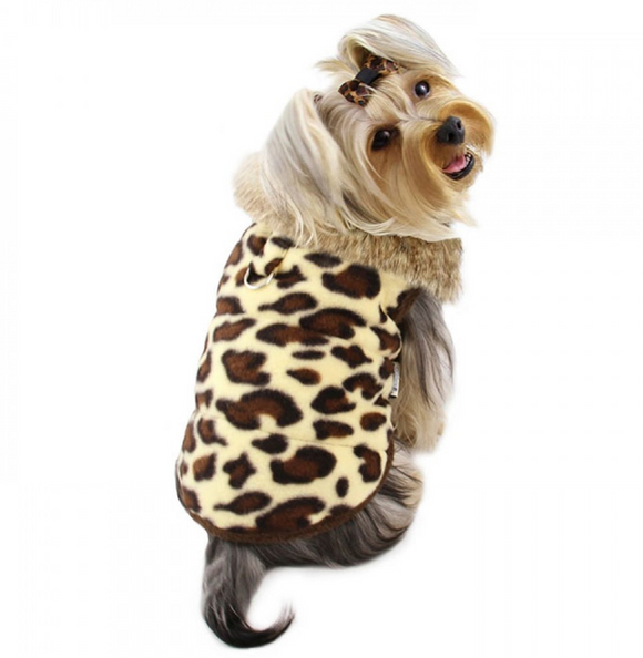 Padded Leopard Print Vest with Fur Collar - le-pet-luxe