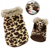 Padded Leopard Print Vest with Fur Collar - Le Pet Luxe
