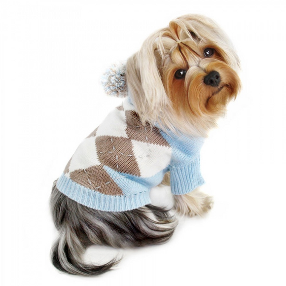 Argyle Pattern Hoodie Sweater with Pompom - Light Blue - le-pet-luxe