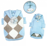 Argyle Pattern Hoodie Sweater with Pompom - Light Blue - Le Pet Luxe