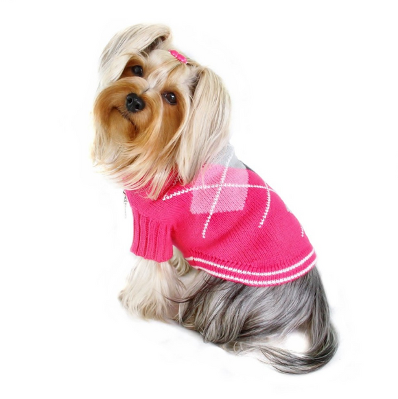 Argyle Pattern Turtleneck Sweater - Hot Pink - le-pet-luxe