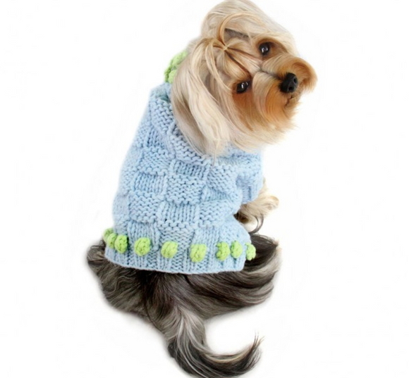 Square Knit Turtleneck Sweater with Pompoms - Le Pet Luxe