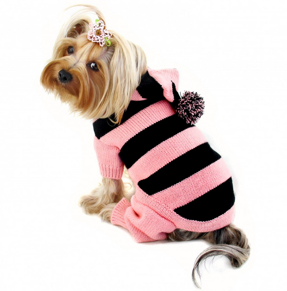 Stripy Bodysuit with Long Hoodie and Pompom - le-pet-luxe