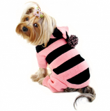 Stripy Bodysuit with Long Hoodie and Pompom - Le Pet Luxe