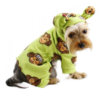 Silly Monkey Fleece Hooded Pajamas ~ Lime - Le Pet Luxe
