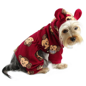 Silly Monkey Fleece Hooded Pajamas ~ Burgundy - Le Pet Luxe