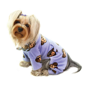 Silly Monkey Fleece Turtleneck Pajamas ~ Lavender - Le Pet Luxe