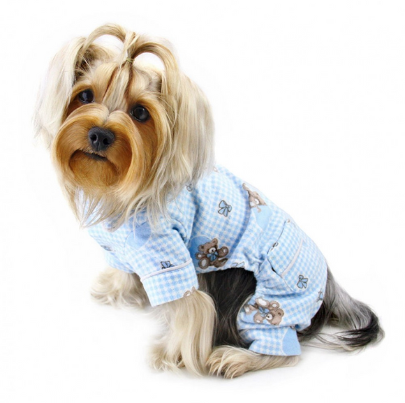 Adorable Teddy Bear Love Flannel PJ with 2 Pockets - Light Blue - Le Pet Luxe