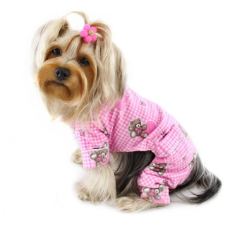Adorable Teddy Bear Love Flannel PJ with 2 Pockets - Pink - Le Pet Luxe