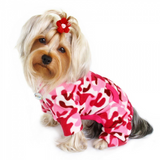 Pink Camouflage Fleece Turtleneck Dog Pajamas - Le Pet Luxe