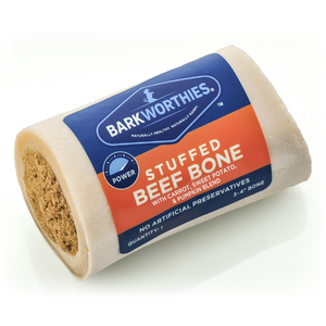 "Barkworthies 3-4"" Shin Bone stuffed with Pumpkin, Sweet Potato & Carrot Blend - le-pet-luxe"