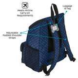 Weekender Backpack ~ Navy/White Polka Dots (All Size Dogs) - Le Pet Luxe