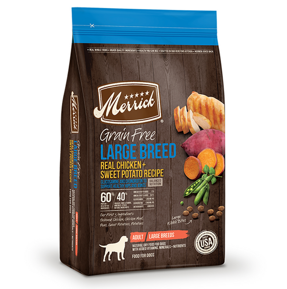 Merrick Grain Free Large Breed Real Chicken and Sweet Potato Recipe - Le Pet Luxe