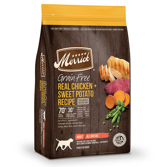 Merrick Grain Free Real Chicken and Sweet Potato Recipe - Le Pet Luxe