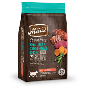 Merrick Grain Free Real Duck and Sweet Potato Recipe - Le Pet Luxe