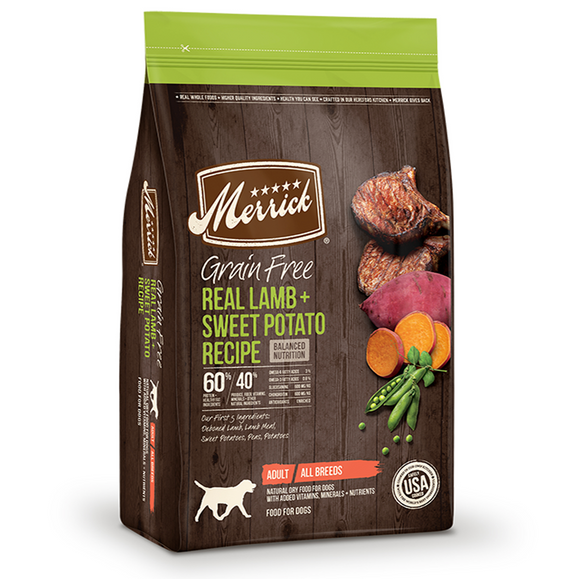 Merrick Grain Free Real Lamb and Sweet Potato Recipe - Le Pet Luxe