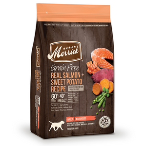 Merrick Grain Free Real Salmon and Sweet Potato Recipe - Le Pet Luxe