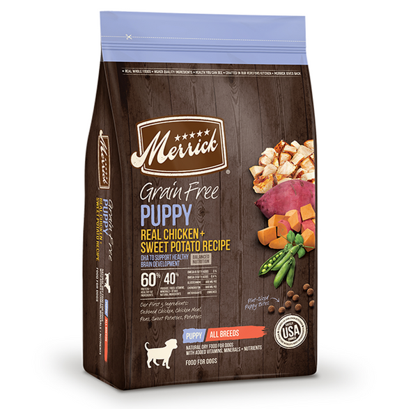 Merrick Grain Free Real Chicken and Sweet Potato Puppy Recipe - Le Pet Luxe