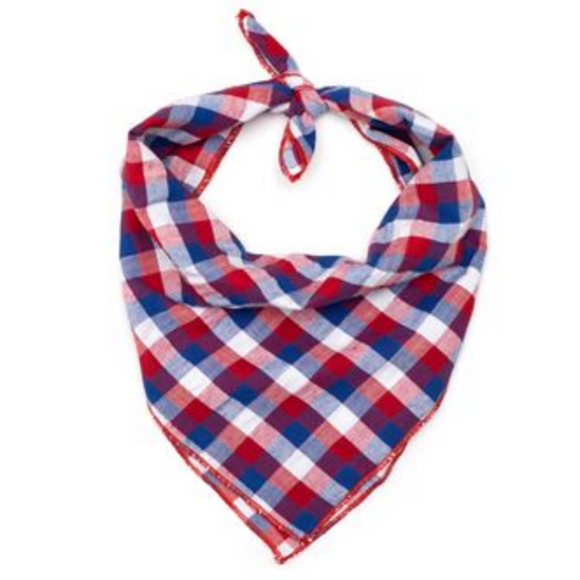 Red/White/Blue Check Tie Dog Bandana - Le Pet Luxe