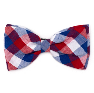 Red/White/Blue Check Dog Bow Tie - Le Pet Luxe