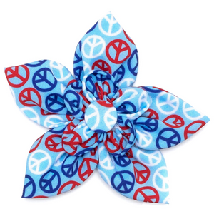 Red/White/Blue Dog Peace Flower - Le Pet Luxe